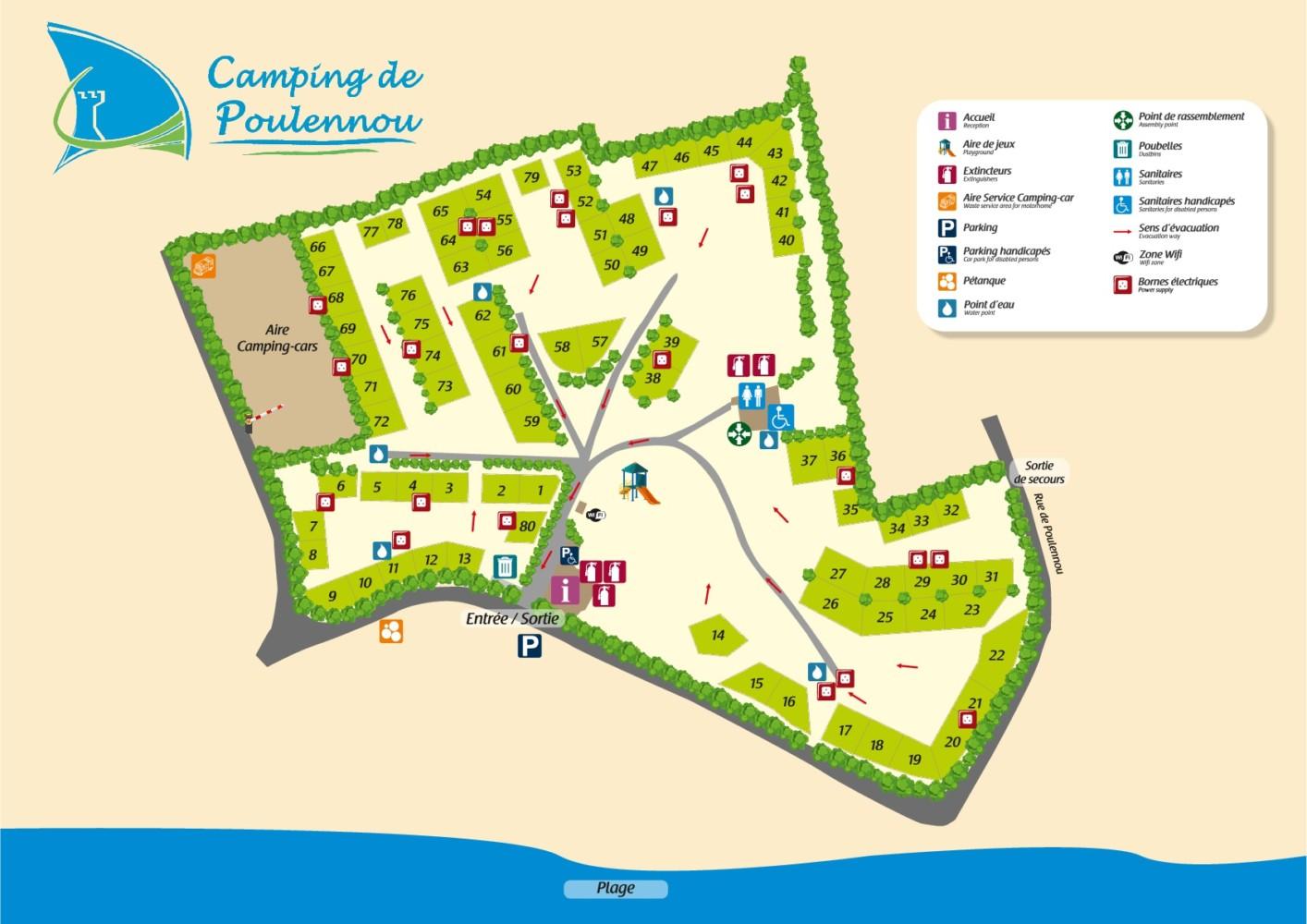 Plan des emplacements - Camping Poulennou